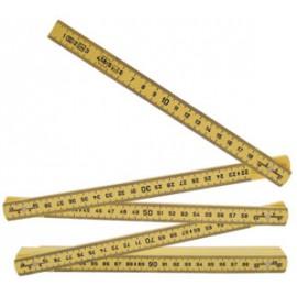 Mètre pliant bois Couleur jaune - professionnel - 2 m